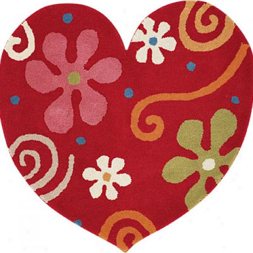 Dynamic Rugs Fantasia 3 X 3 Heart Red Area Rugs