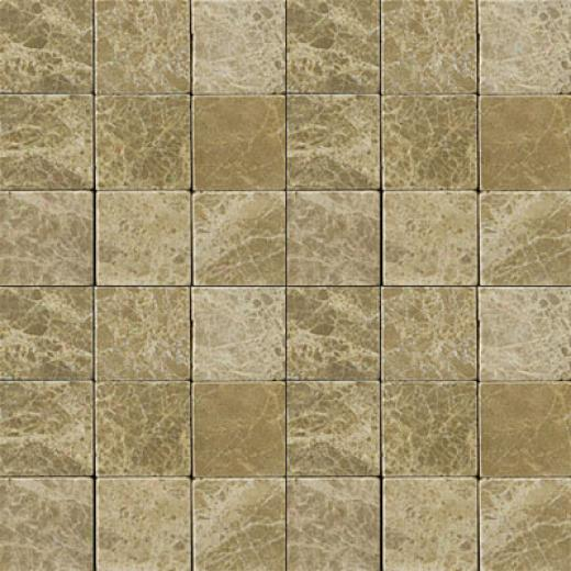 Emser Tile Antique & Tumbled Stone Inlaid 2 X 2 Square Marble Ancient Tumbled Emperador Lt. Tile & Stone