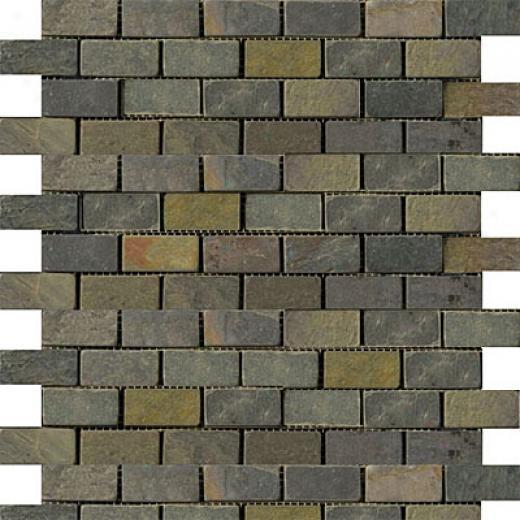 Emser Tile Old & Tumbled Stone Mosaic 1 X 2 Offwet Slate Tumbled Multi Rajah Tile & Stone