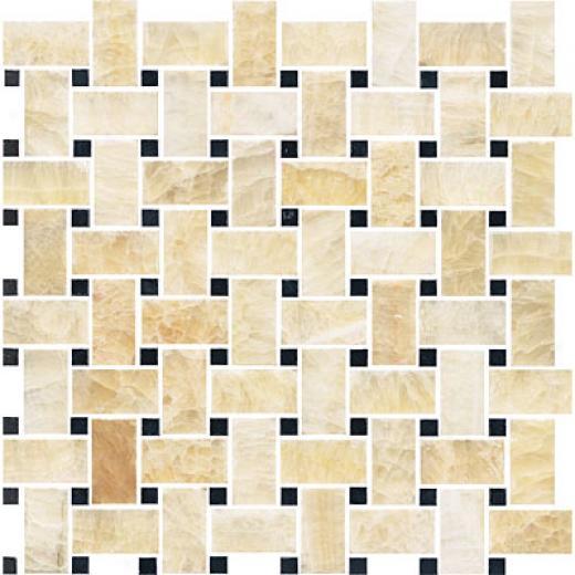 Florida Tile Pierta Art Mosaics Basketweave Polished Honey Onyx/black Tile & Stone