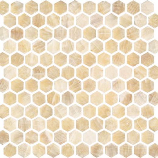 Florida Tile Pierta Art Mosaics Hexagon Tumbled Honey Onyx Tile & Stone