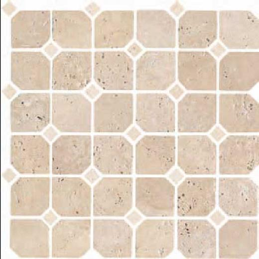 Florida Tile Pietra Art Stone Octagon Mosaic Brown W/white Dots Tile & Stone