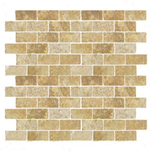 Florida Tile Pietra Art Travertine Brick Mosauc 2 X 4 Giallo Tile & Stone