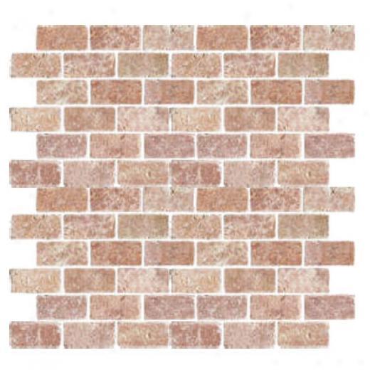 Florida Tile Pietra Art Travertine Brick Mosaic 2 X 4 Rojo Tile & Stone