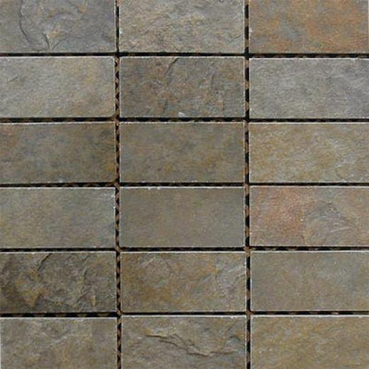 Fondovalle Slate Valley Brick Mosaic Khaki (verde) Tile & Stone