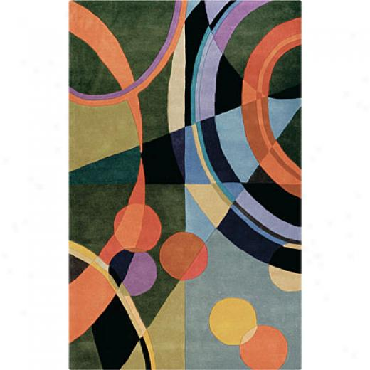 Helleniv Rug Imports, Inc. Kontempo 8 X 11 Circles Orange/black Area Rugs