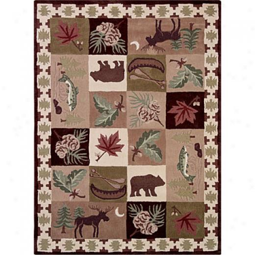 Grecian Rug Imports, Inc. Wilderness Plus 1 X 2 North Dakota Green Atea Rugs