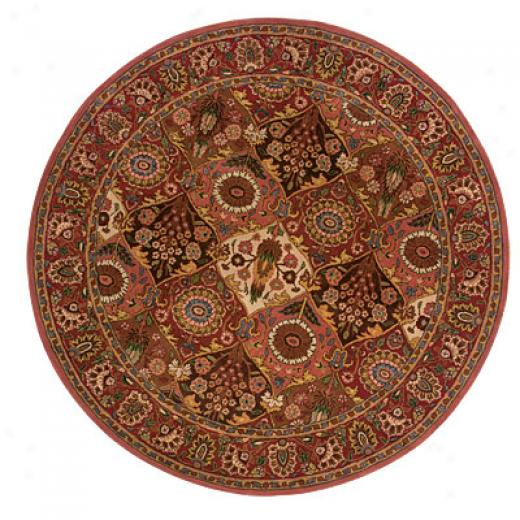 Hellenic Rug Impodts, Inc. Wonders Of The World 8 Round Panel Coral Area Rugs