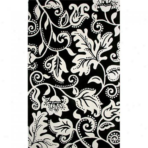 Hellenic Rug Imports, Inc. New Age 4 X 6 Tendrils Black Area Rugs