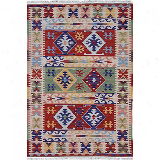Hellenic Rug Imports, Inc. Anatolis Wool Kilims 5 X 8 Thrace Red Area Rugs