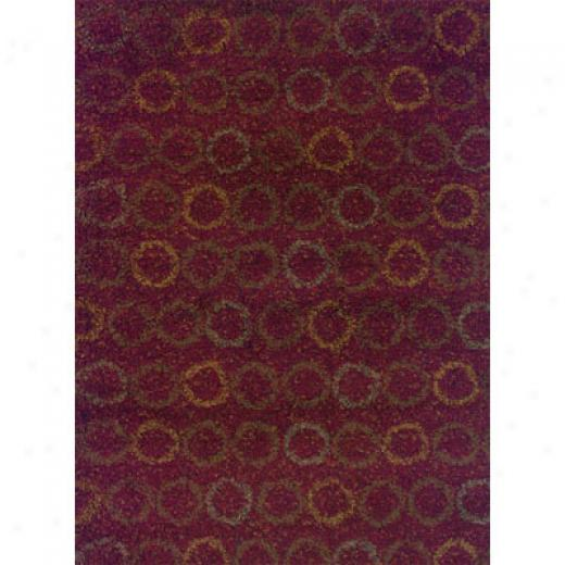Kane Carpet Visions Shag 8 X 10 Circles Rusty Area Rugs