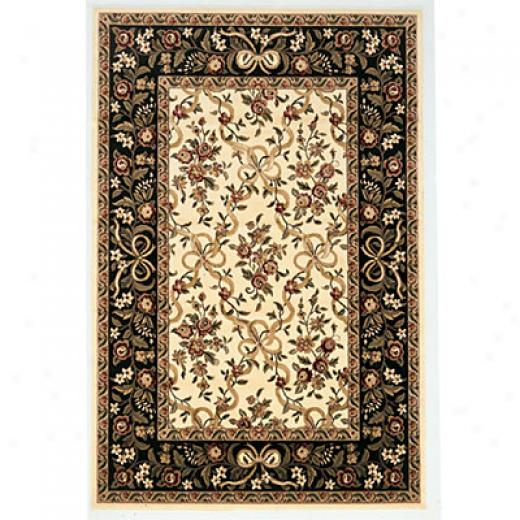 Kas Oriental Rugs. Inc. Cambridge 2 X 3 Cambridge Ivory/black Floral Ribbbons Area Rugs