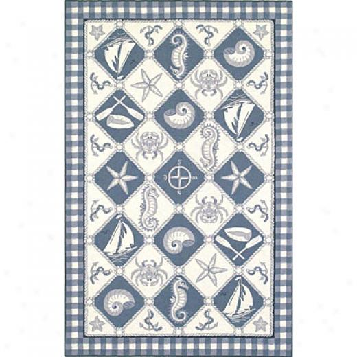 Kas Oriental Rugs. Inc. Colonial 2 X 3 Colonial Blue/ivory Nautical Panel Area Rugs