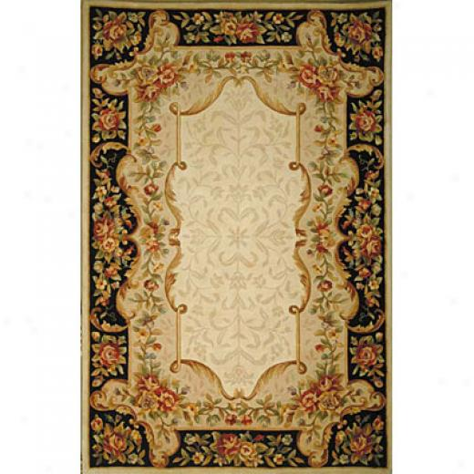 Kas Oriental Rugs. Inc. Jewel Runner 2 X 10 Jewei Ivory/black Savonnerie Area Rugs