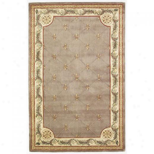 Kas Oriental Rugs. Inc. Jewel 8 Round Jewel Taupe Fleur-de-lis Area Rugs