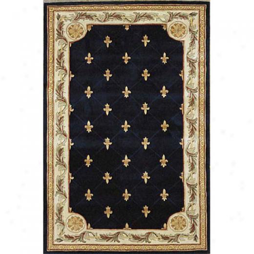 Kas Precious Rugs. Inc. Jewel 8 X 11 Jewel Navy Fleur-de-lis Area Rugs