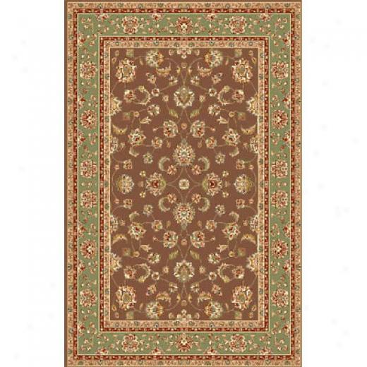 Kas Oriental Rugs. Inc. Monroe 8 Round Mocha Sage Allover Kashan Arsa Rugs