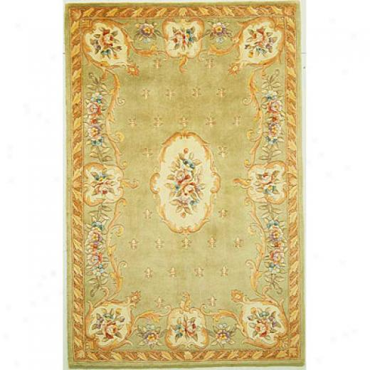 Kas Oroental Rugs. Inc. Ruby 3 X 5 Ruby Sage Foeur-de-1is Aubusson Area Rugs