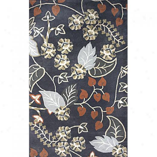Klaussner Home Furnishing Grey Floral 5 X 8 Grey Floral Area Rugs