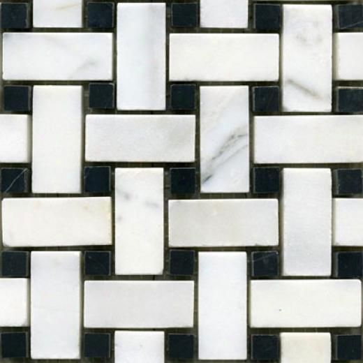 Maestro Mosaics Stone Basketweave Mosaic White Statuary Black Tile & Stine