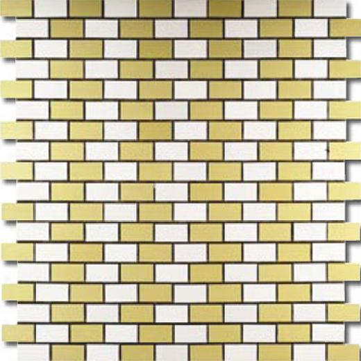 Metal Border Pure Metal Brick Staggered Mosaic 1 X 2 Oro Tile & Stone