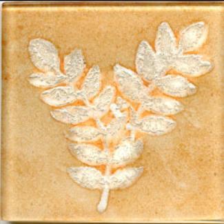 Miila Studios Elements Glass Tile 2 X 2 Fern2 Apricot Silver Tile & Stone