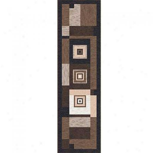 Milliken Bloque 2 X 23 Runner Brown Leather Area Rugs