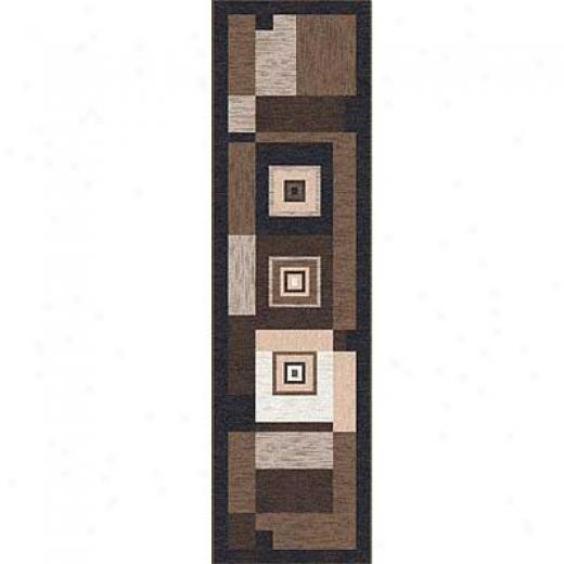 Milliken Bloques 2 X 8 Runner Brown Leather Area Rugs