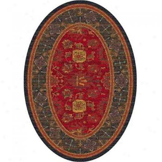 Milliken Karshi 4 X 5 Oval Red Cinnamon Area Rugs