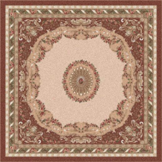Milliken Marquette 8 Round Red Flesh Area Rugs