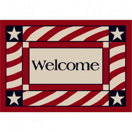 Milliken Patriotic Welckme 3 X 4 Patriotic Welcome Area Rugs