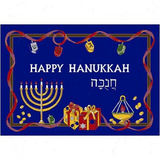 Milliken Seasonal - Winter 3 X 4 Holiday Rugs - Hanukkah Yard Rugs