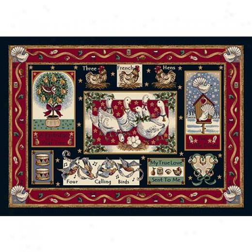Milliken Saesonal - Winter 4 X 5 Holiday Rugs - Partridge In A Pear Tree Yard Rugs