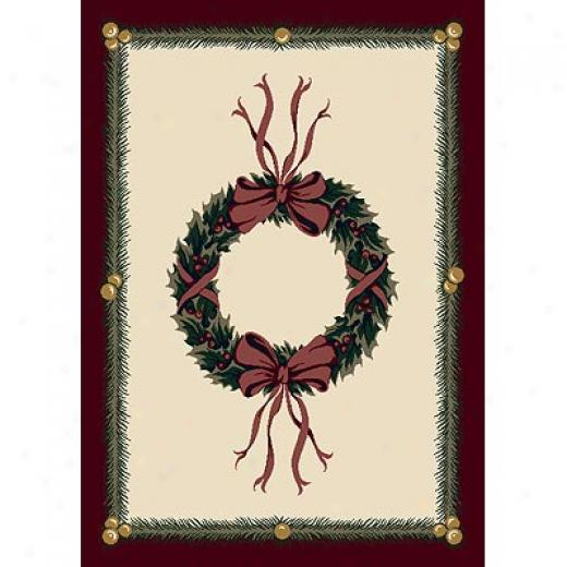 Milliken Seasonal - Winter 4 X 5 Holiday Wreath - Sugarplum Area Rugs