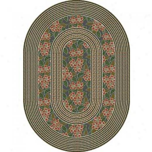 Milliken Woodstock Braid 4 X 5 Oval Lapis Light Rose Area Rugs