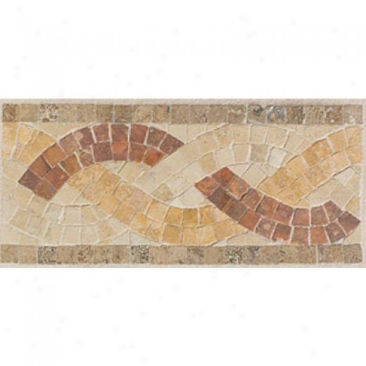 Mohaw kArtistic oCllection - Accent Statements - Stone Sand Walnut Gold Red Basmet Weave Border Tile & Stone