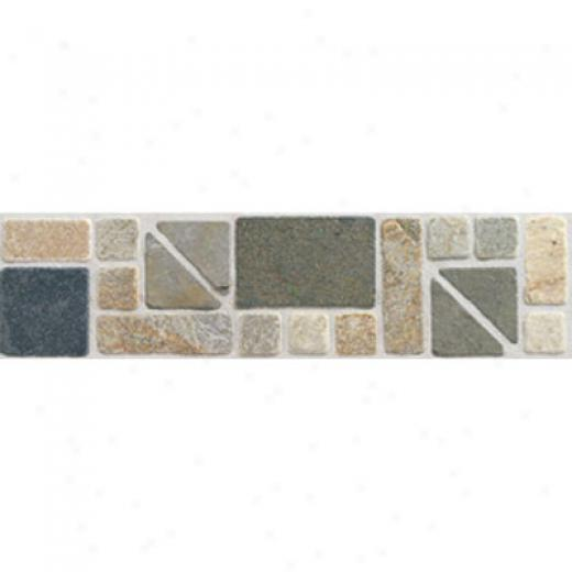 Mohawk Artistic Collection - Accent Statements - Stone Gold Multicolor Geometric Slate Border Tile & Stone