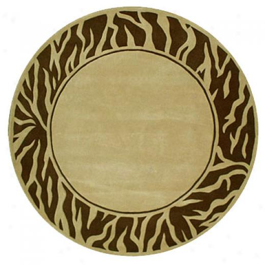 Nejad Rugs African Safari 8 Round Zebra Border Beige/brown Area Rugs