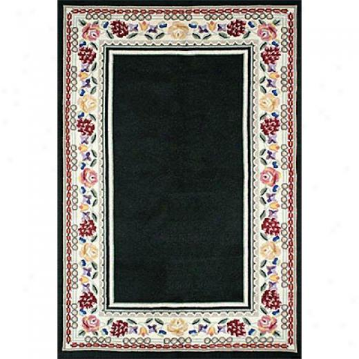 Nejad Rugs Bucks County - Bordsr Rug 3 X 8 Runner Black/ivory Area Rugs