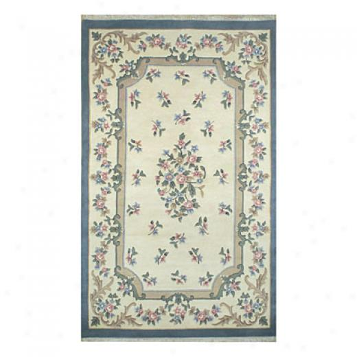 Nejad Rugs Frrnch Country 6 X 9 Oval Floral Aubuson Ivory/yellow/blue Area Rugs