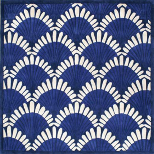 Nejad Rugs Shells Nouveau 4 Perpendicular Navy Area Rugs