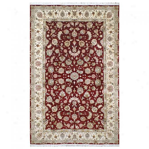 Nejad Rugs Silk & Wool 3 X 6 Tabriz Burgundy/ivory Area Rugs