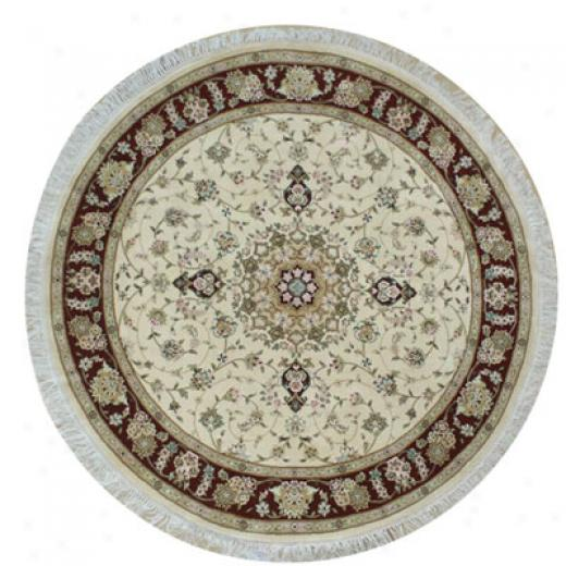 Nejad Rugs Silk & Wool 6 Circle Tabriz Ivory/burgundy Area Rugs