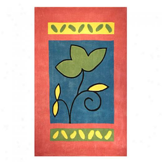 Nejad Rugs The Brigh Collection 4 X 6 A Single Flower Rose/blue Area Rusg