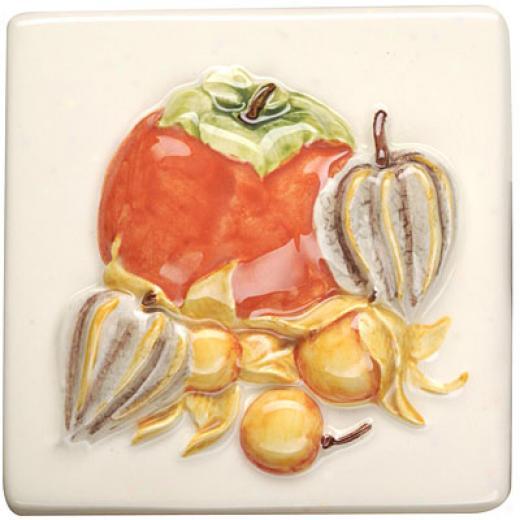 Original Style Fruits Exotiques Hand Paintsd 4 X 4 Persimomn Cape Goose Tile & Stone