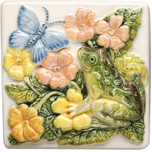 Original Style Lily Pond Clematis 4 X 4 Frog And Butterfly Tile & Stone