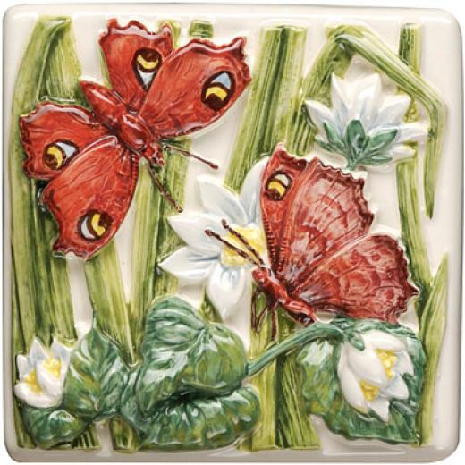 Original Style Lily Pond Clematis 4  X4 Peacock Butterflies Tile & Stone