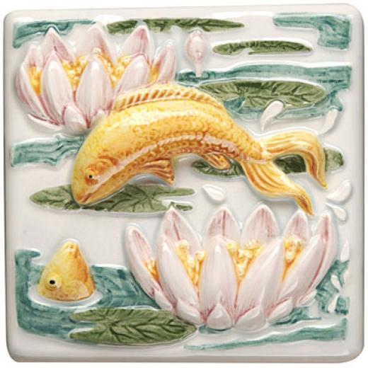 Original Style Lily Pond Clematis 4 X 4 Leaping Fish Tile & Stone