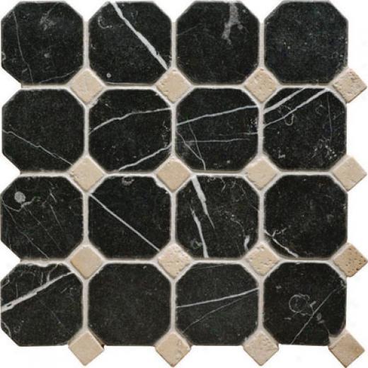Original Style Venetian Octagon Mosaic Black/crema Tile & Stone