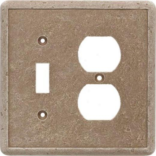 Questech Dorset Switch Plates - Travertine Double Gfci Tile & Stone